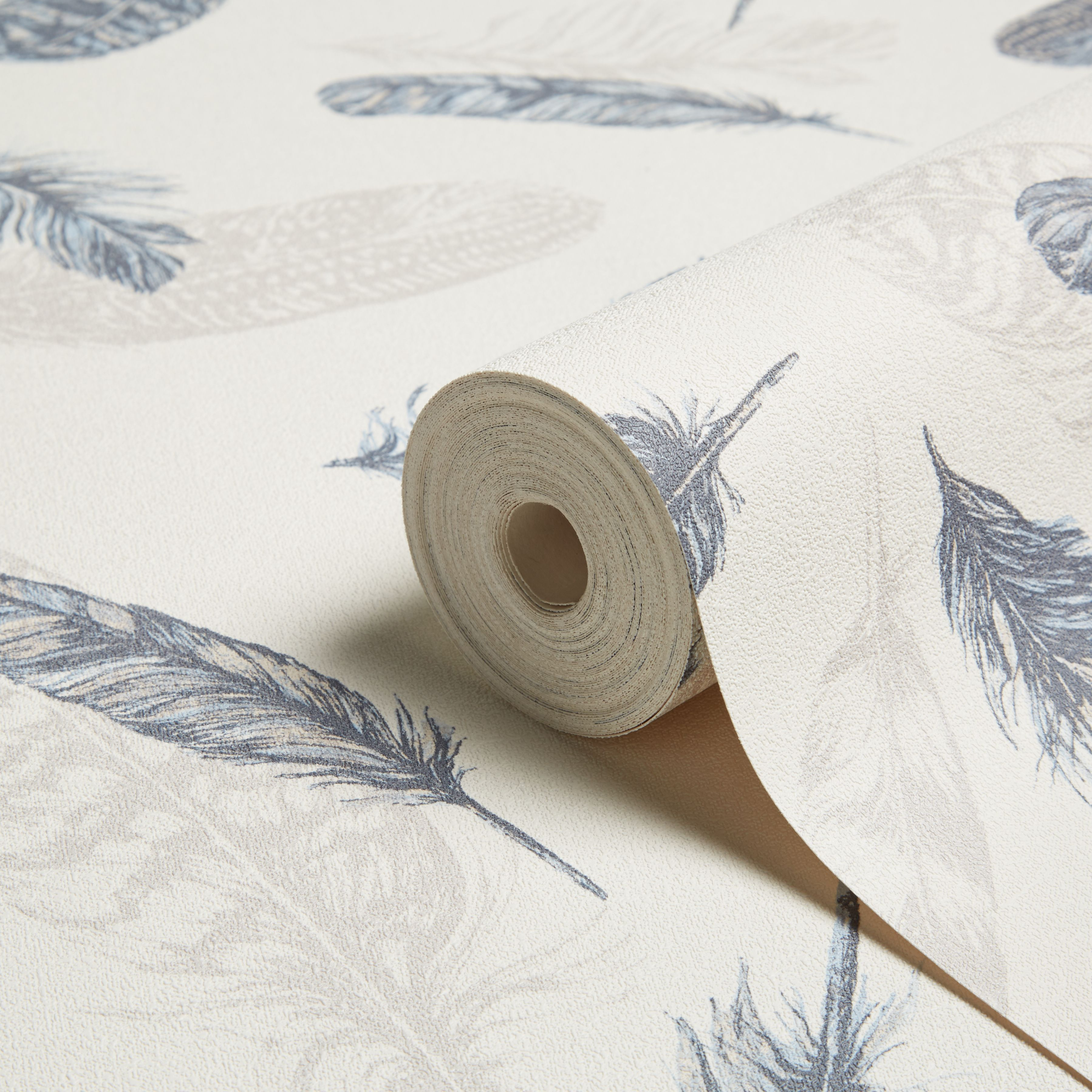 Arthouse Plume Blue Cream Feathers Wallpaper