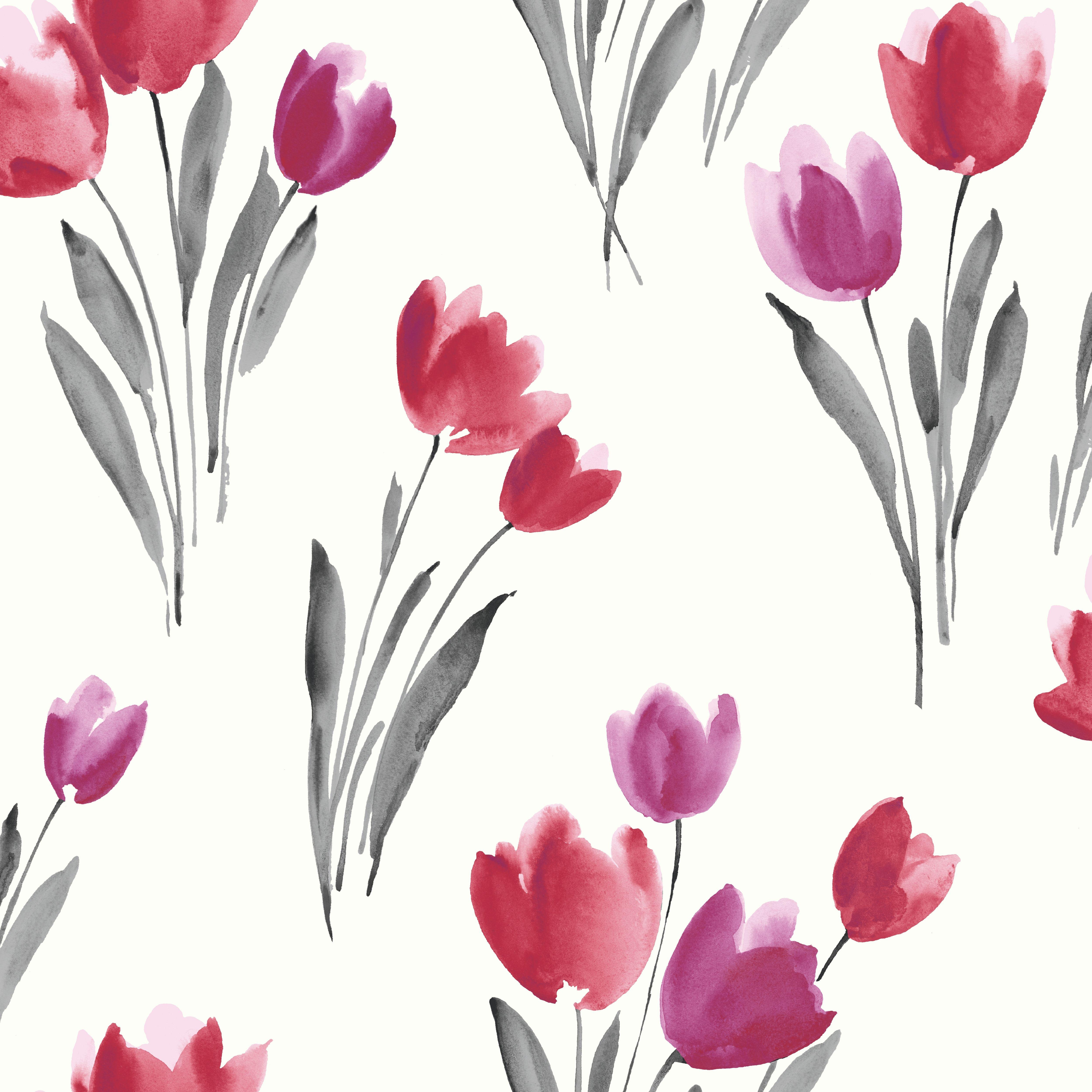 Kitchen Wallpaper B And Q: Arthouse Opera Tulip Grey, Red & White Wallpaper