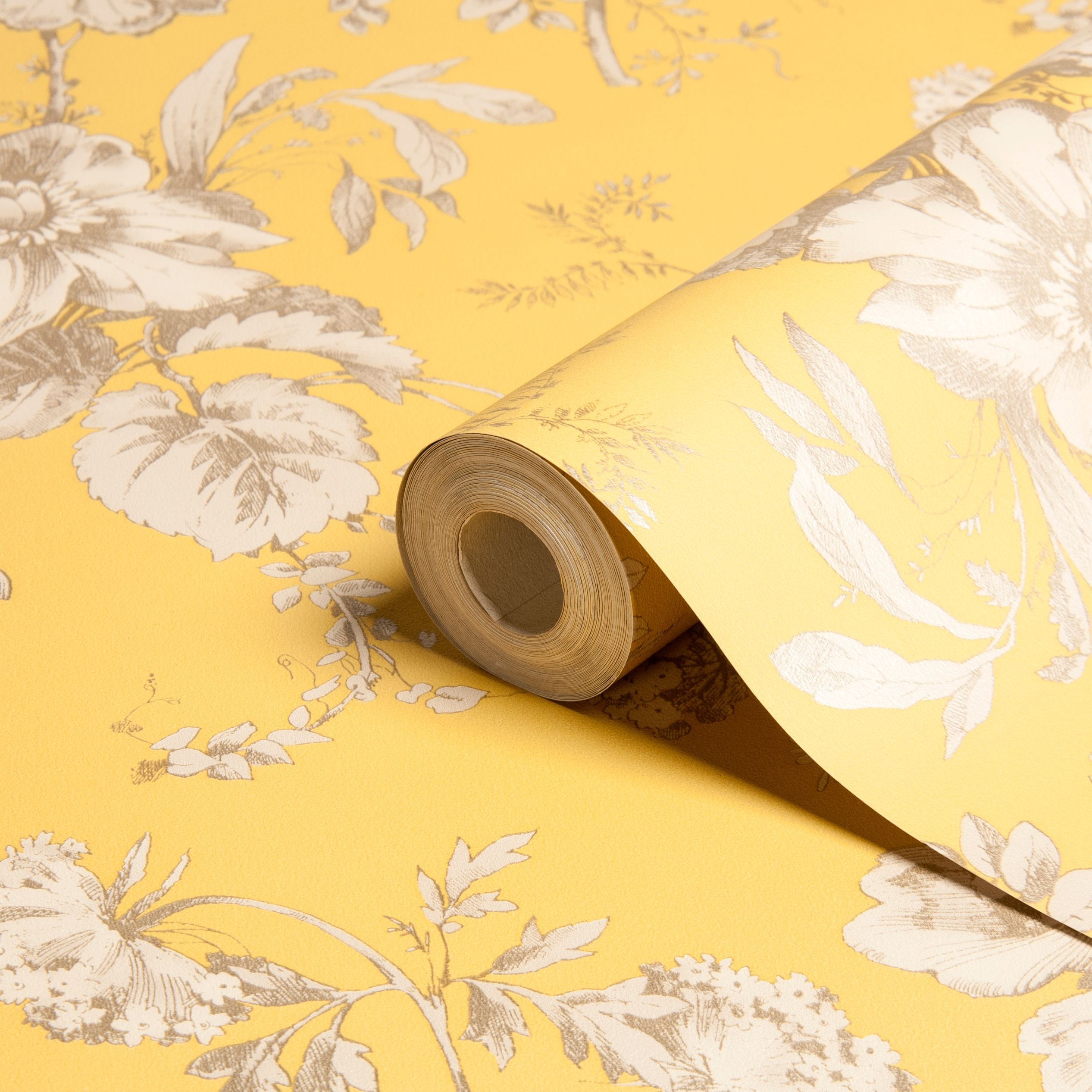 Arthouse Vintage Fleurette Gold Effect Floral Wallpaper