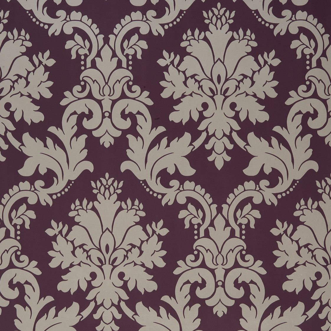 Arthouse Opera Byron Grey amp Plum Damask Wallpaper