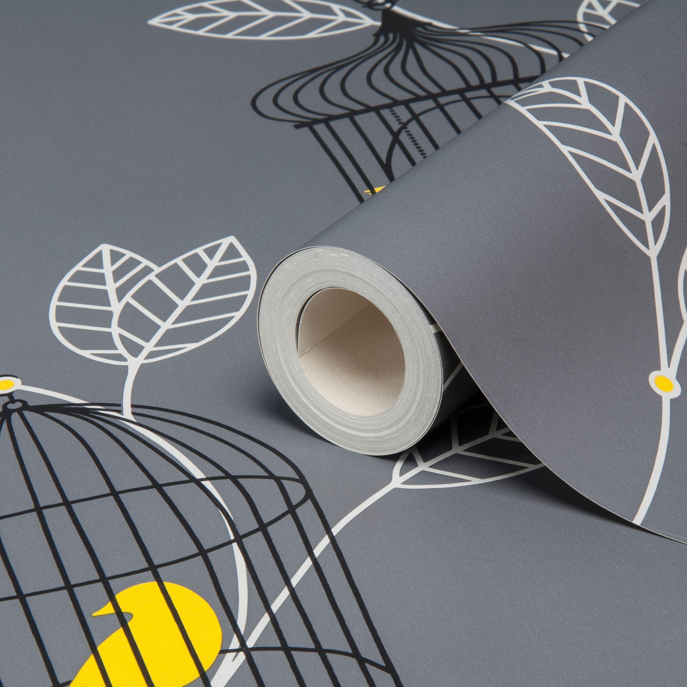 Arthouse opera aviary grey yellow birds wallpaper B q bathroom design service