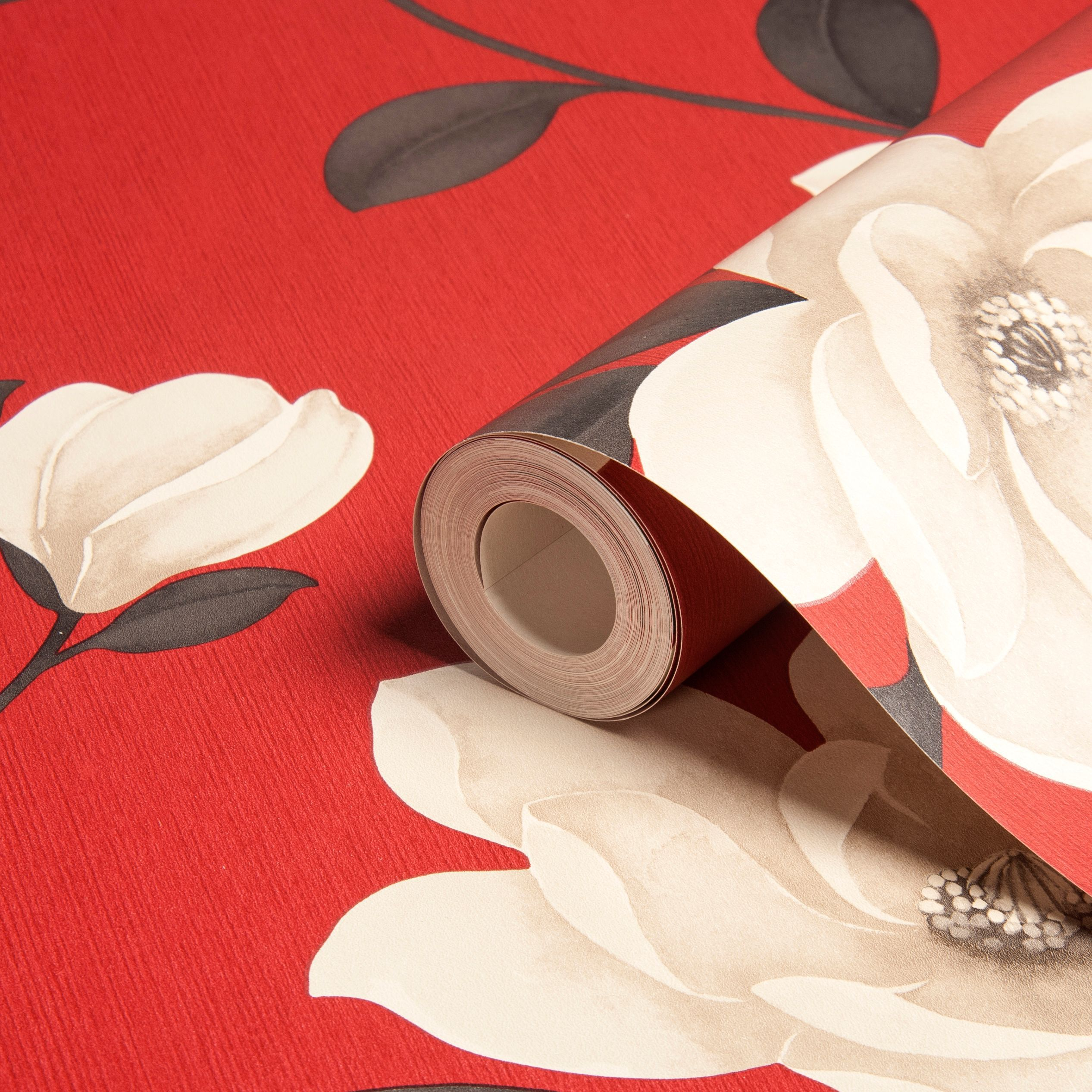 Sophie Conran Magnolia Flower Cream Red Floral Wallpaper