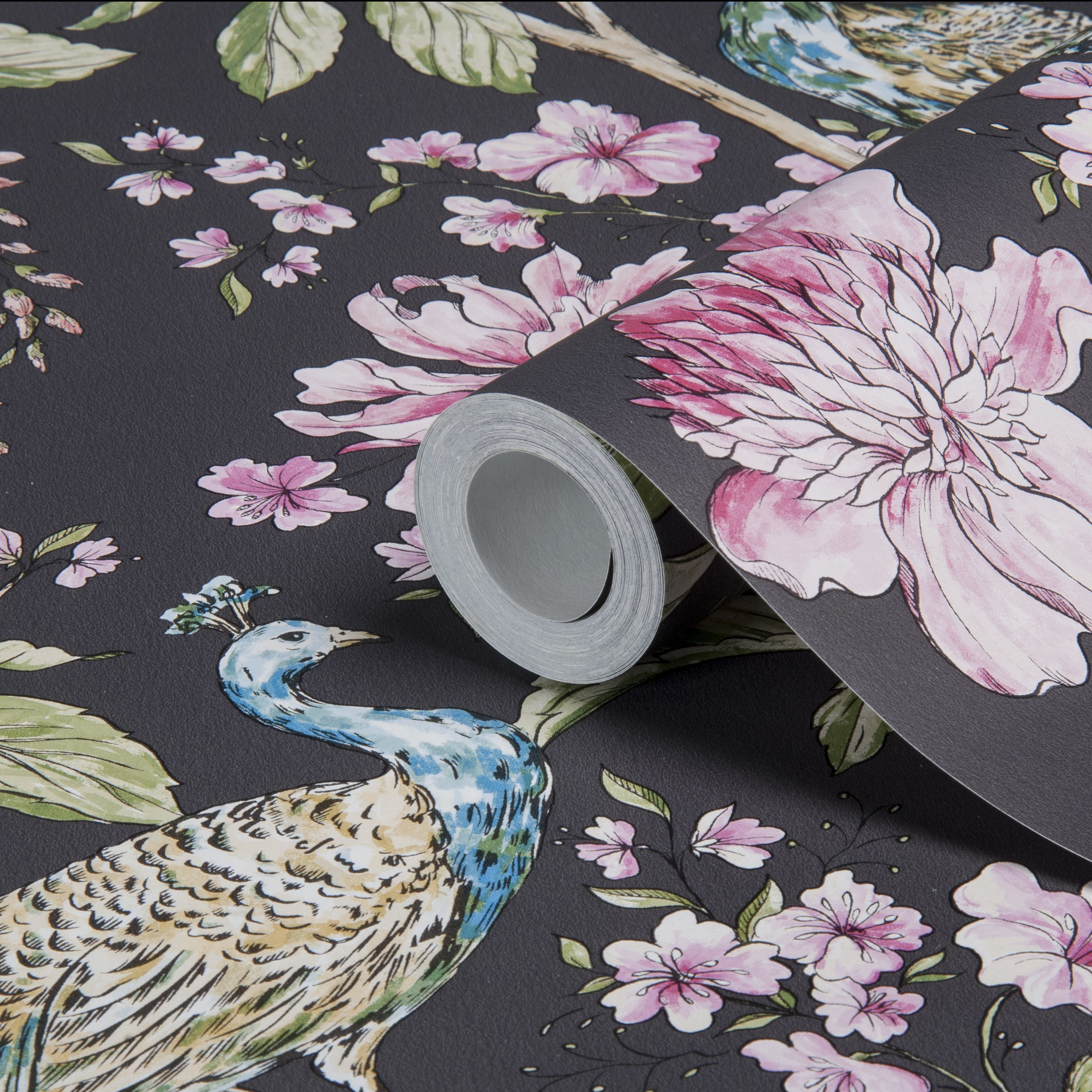 Sophie Conran Hibiscus Charcoal Peacock Floral Wallpaper