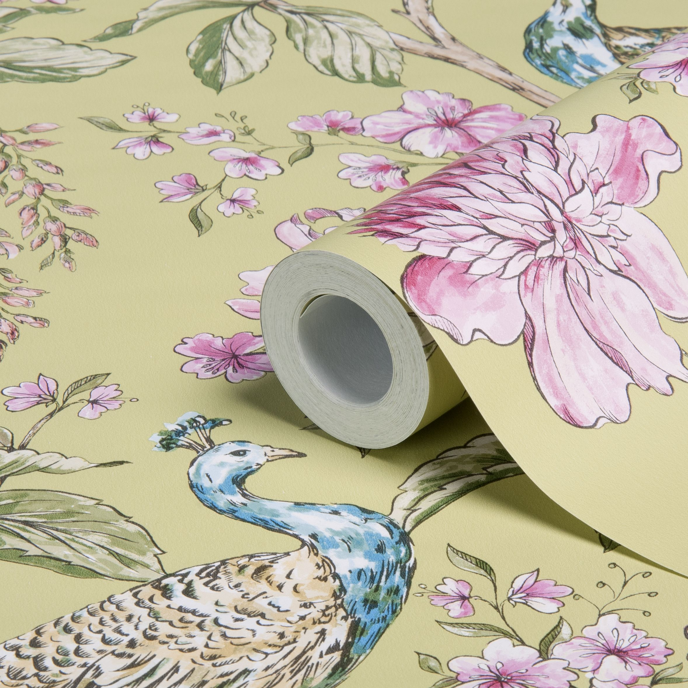 Sophie conran hibiscus citrus peacock floral wallpaper B q bathroom design service