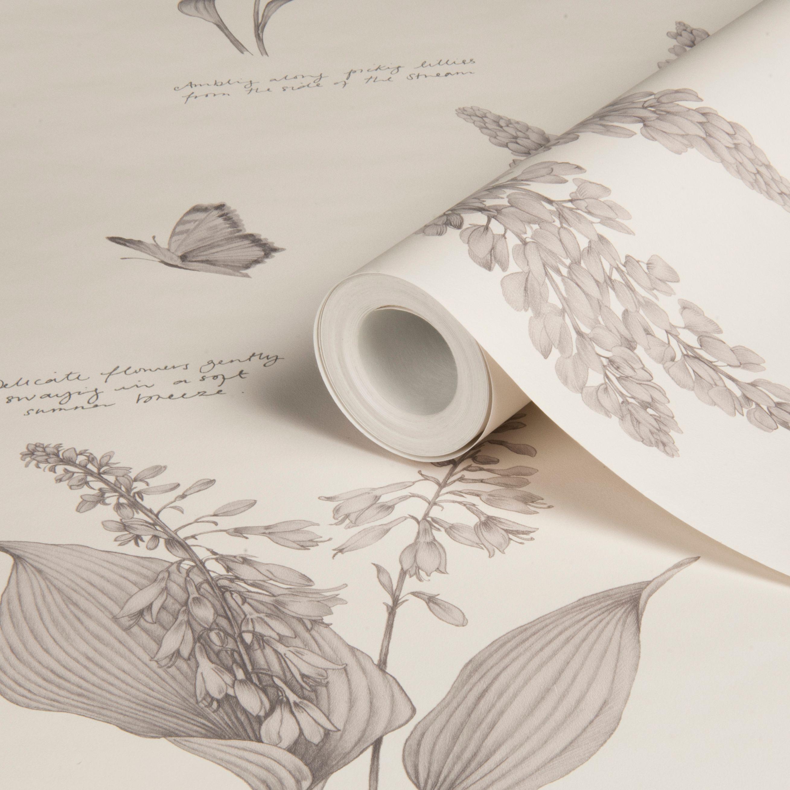 Sophie Conran Linnaeus Dove Floral Butterflies Wallpaper Departments Diy At B Amp Q