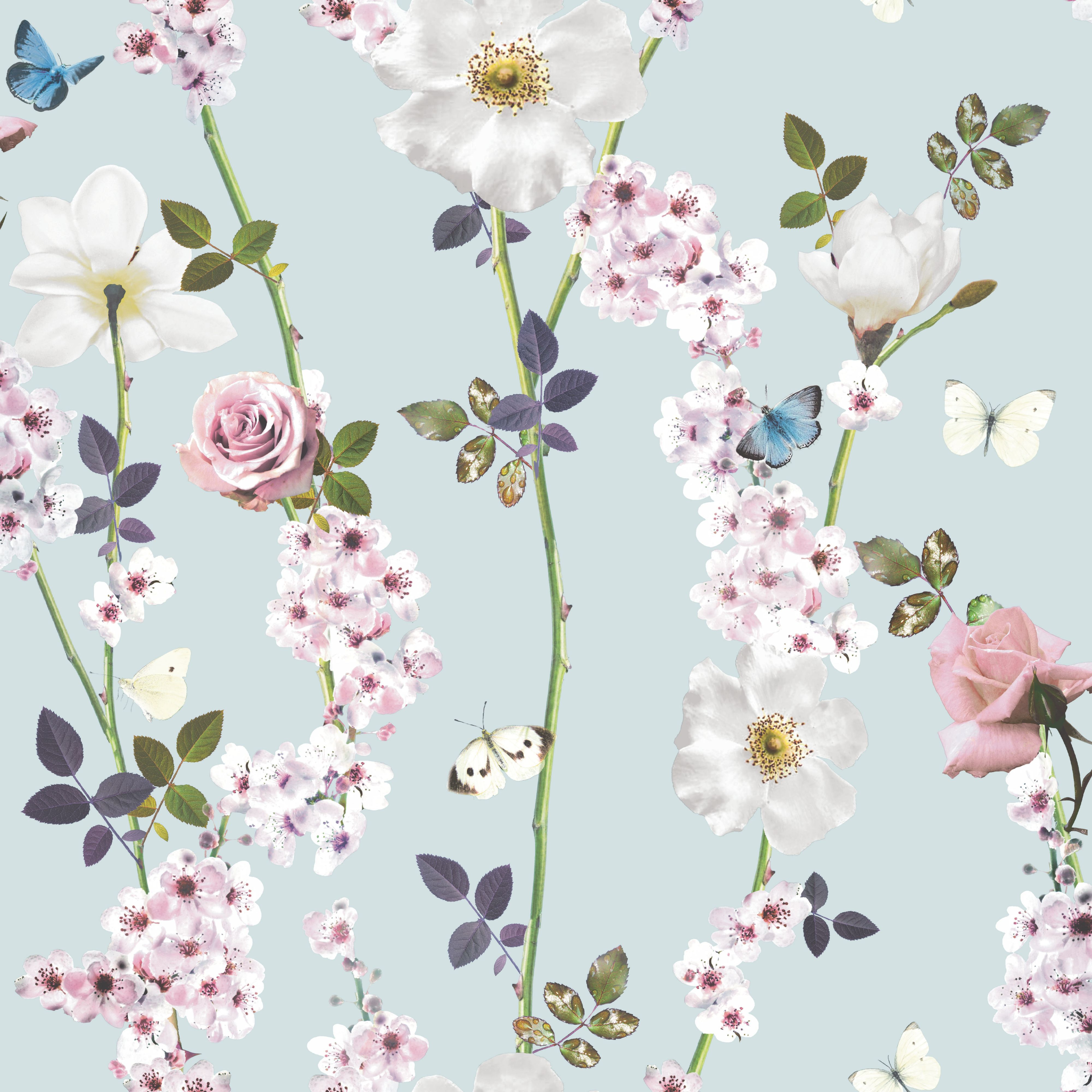Kitchen Wallpaper At B Q: Unlimited Dreamscape Duck Egg Butterflies Wallpaper