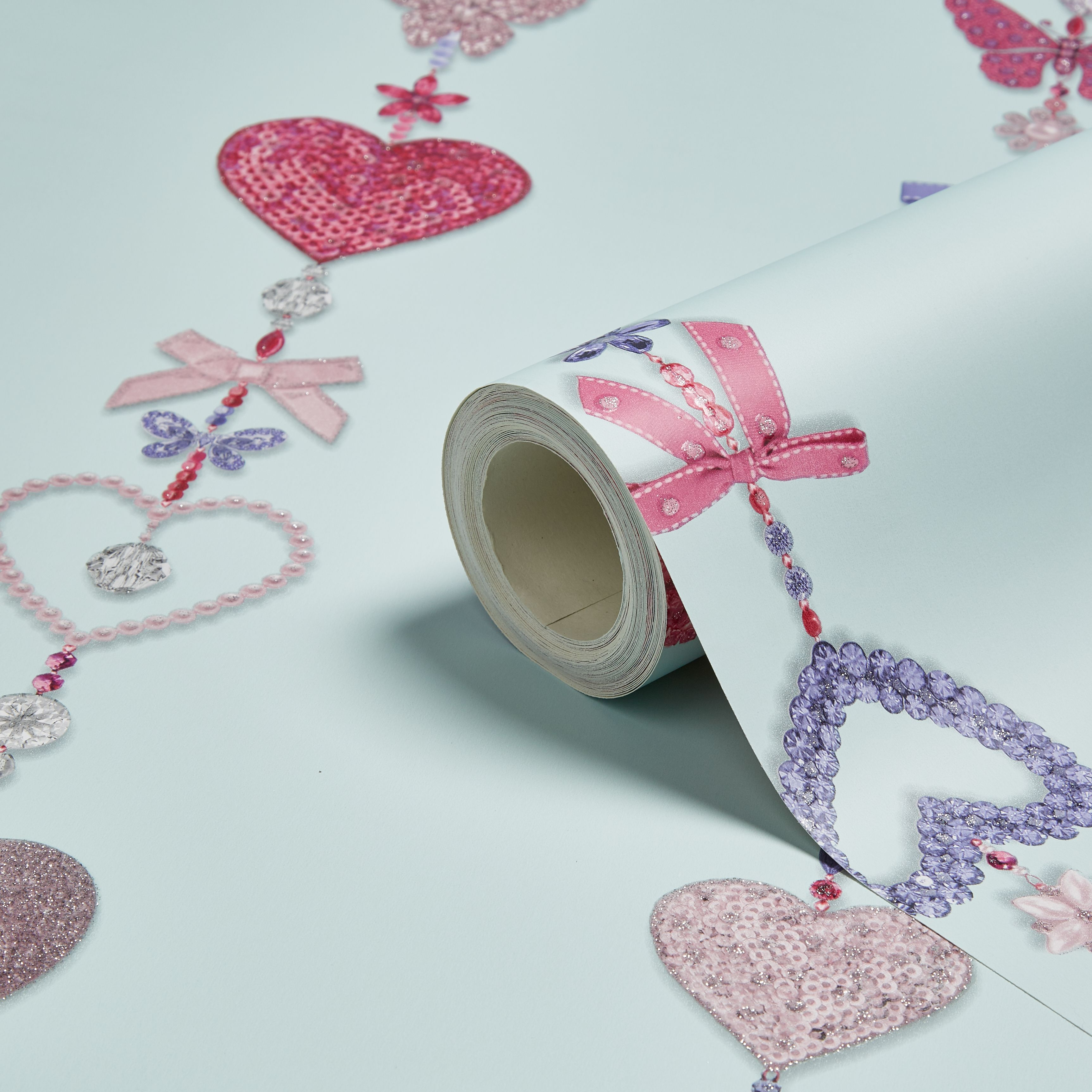 Tiffany Duck Egg Hearts Bows Glitter Effect Wallpaper