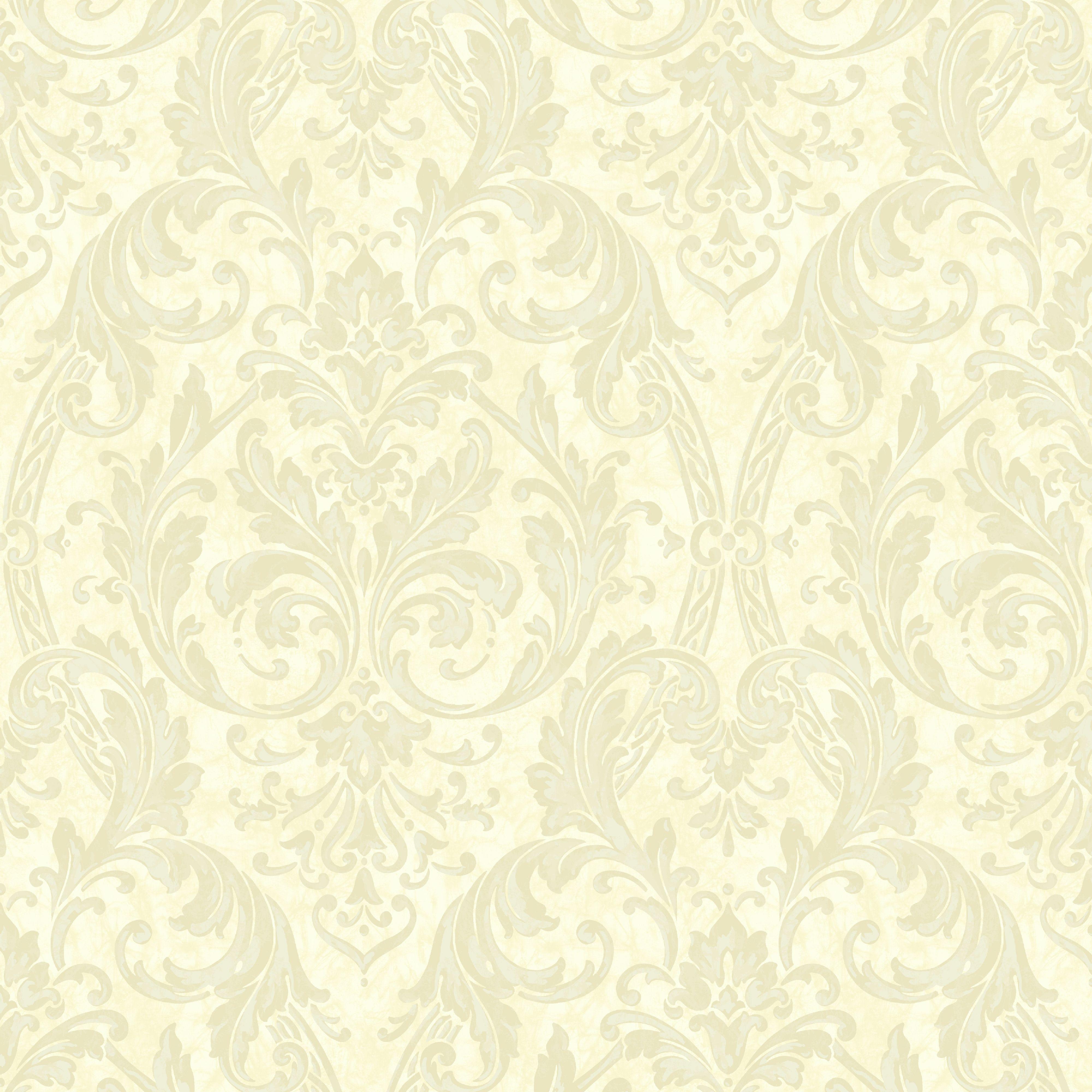 Elegant Cream Hallway With Damask Wallpaper: Arthouse Medici Latte Damask Wallpaper