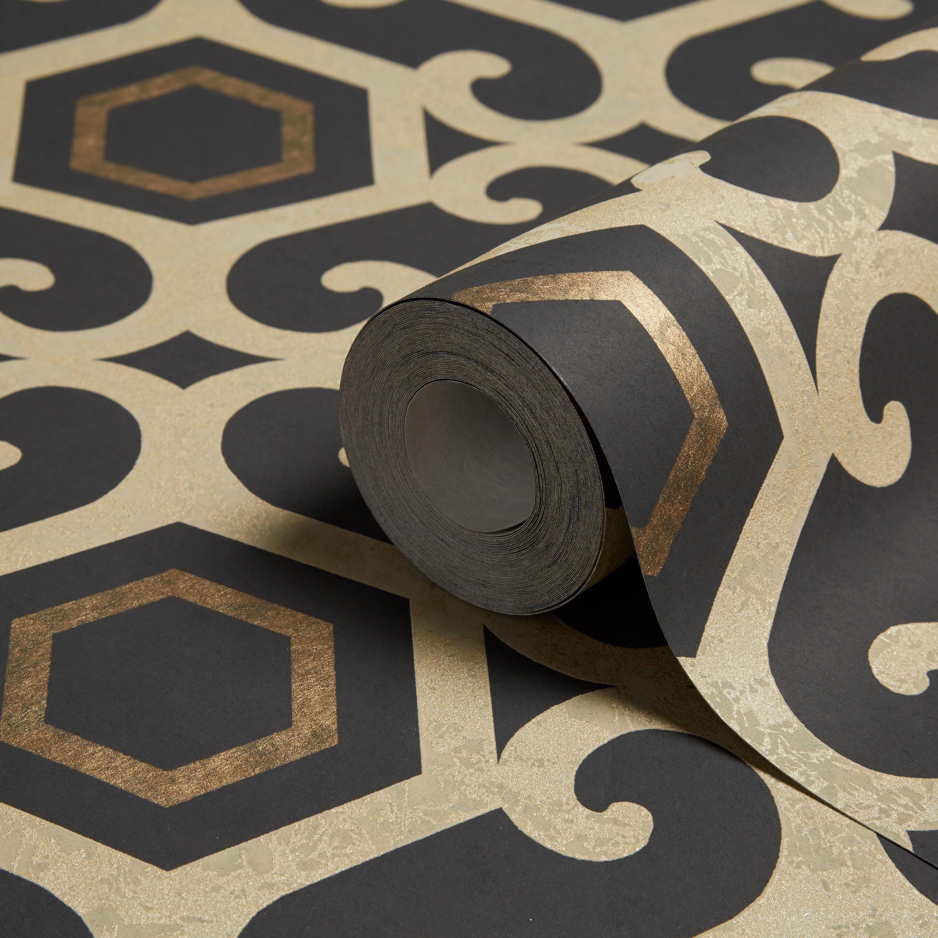 Arthouse Boutique Amber Black Geometric Metallic Wallpaper Departments Diy At B Q