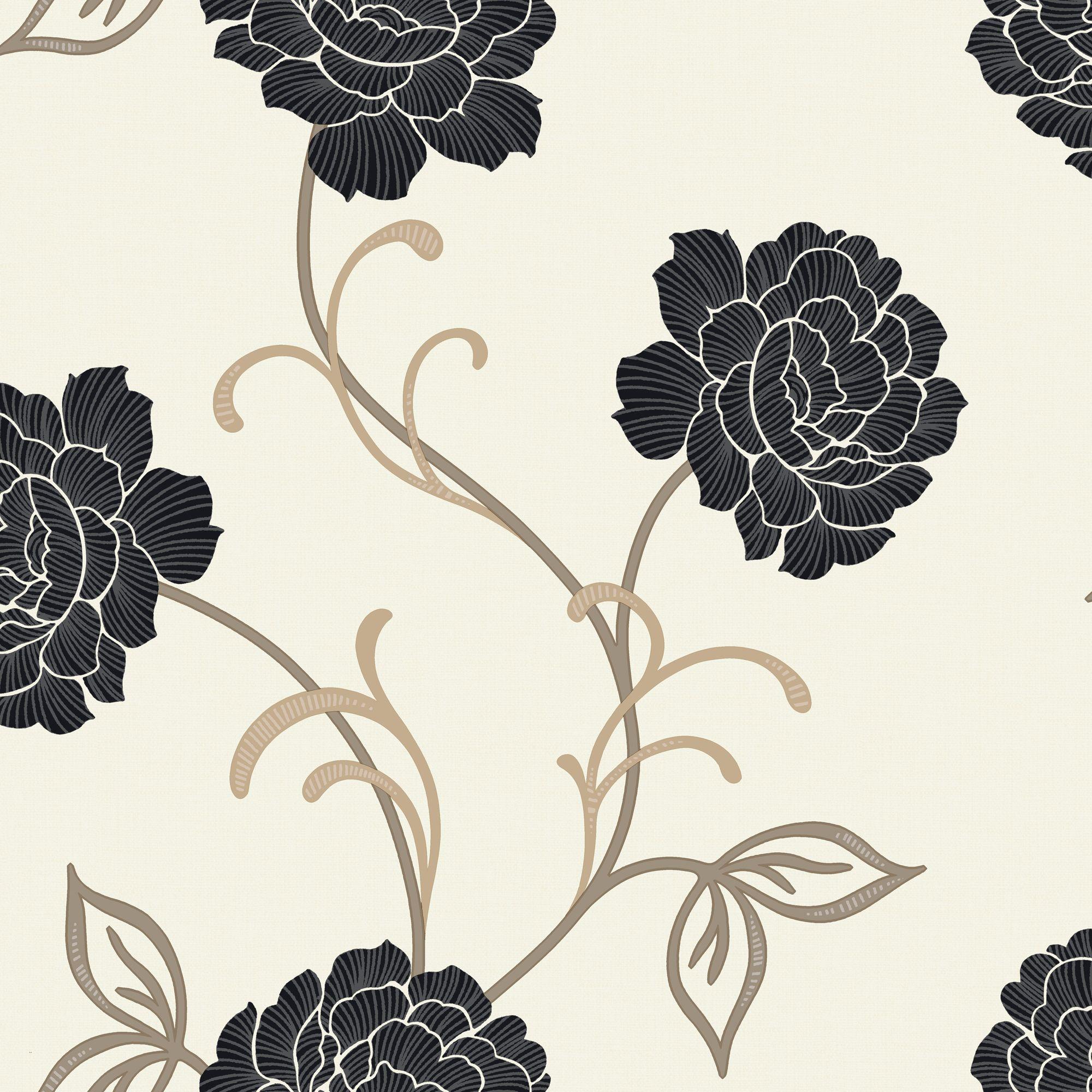 Arthouse Opera Lauren Black Amp Cream Floral Wallpaper
