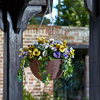 Smart Garden Artificial Pansy Hanging Basket