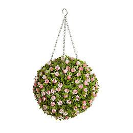 Smart Garden Miniature Rose Pink Artificial Topiary Ball