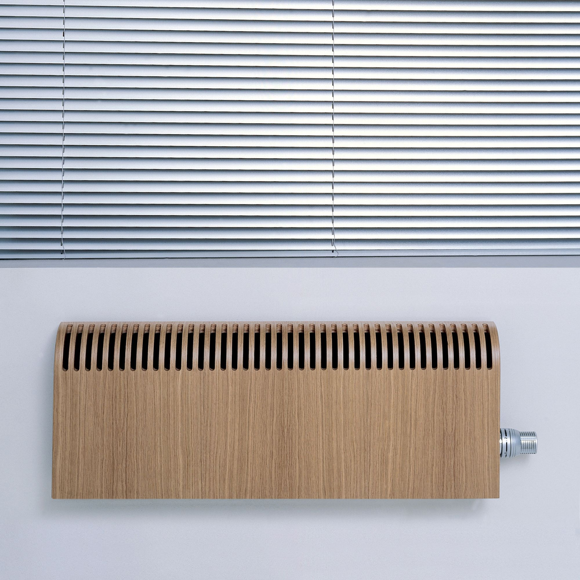 Jaga Knockonwood Horizontal Wooden cased radiator Oak veneer