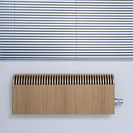 Jaga Knockonwood Horizontal Wooden cased radiator Oak veneer