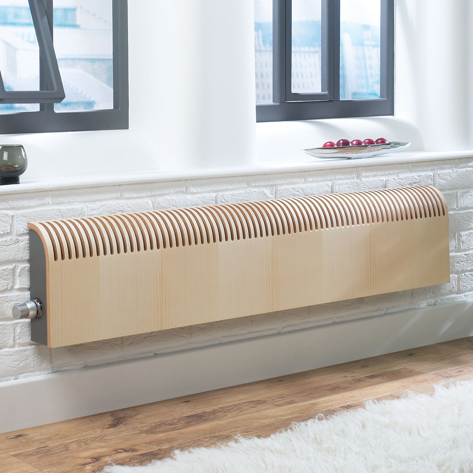 Jaga Knockonwood Horizontal Wooden cased radiator Maple veneer