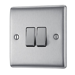 British General 10A 2-Way Double Brushed Steel Light