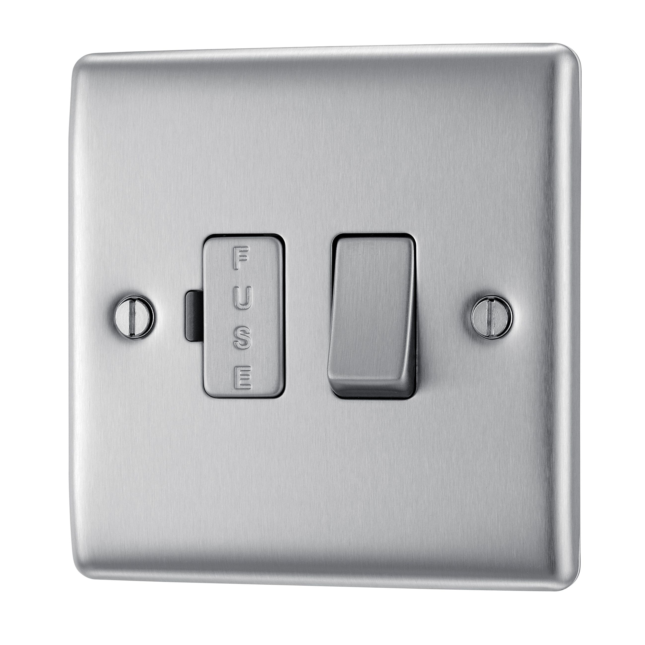 Kitchen Connection Posts: British General 13A Double Pole Brushed Steel Switched Fused Connection Unit