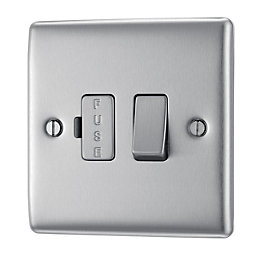 British General 13A Double Pole Brushed Steel Switched