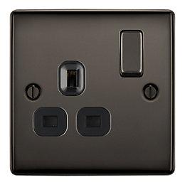 British General 13A Black nickel Switched Single Socket