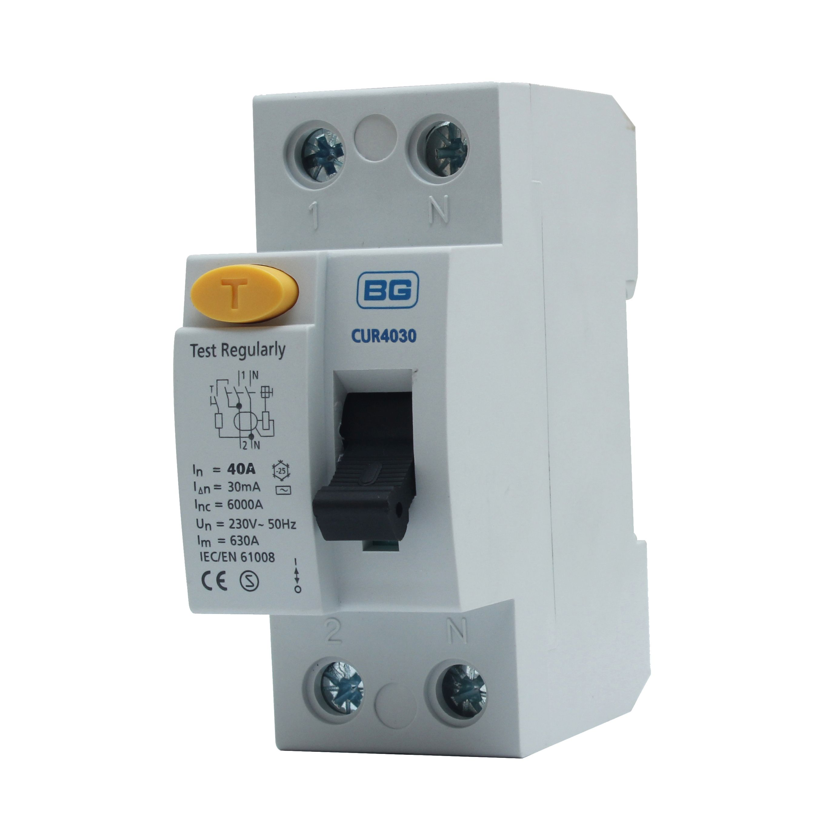Bg 40a Dp 230 400v 30ma Rcd Departments Diy At Bq Iec Fuse With Switch Wiring Diagram