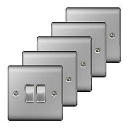 Nexus 10A 2-Way Double Brushed Steel Light Switch,