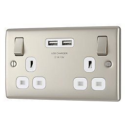 British General 13A Pearl nickel Switched Double Socket