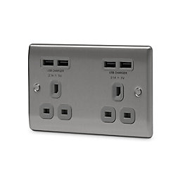 British General 4.2A Brushed steel Unswitched Double Socket