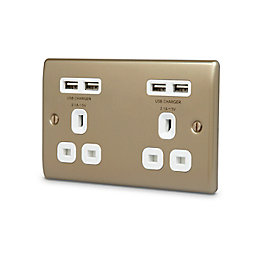 British General 4.2A Pearl nickel Unswitched Double Socket