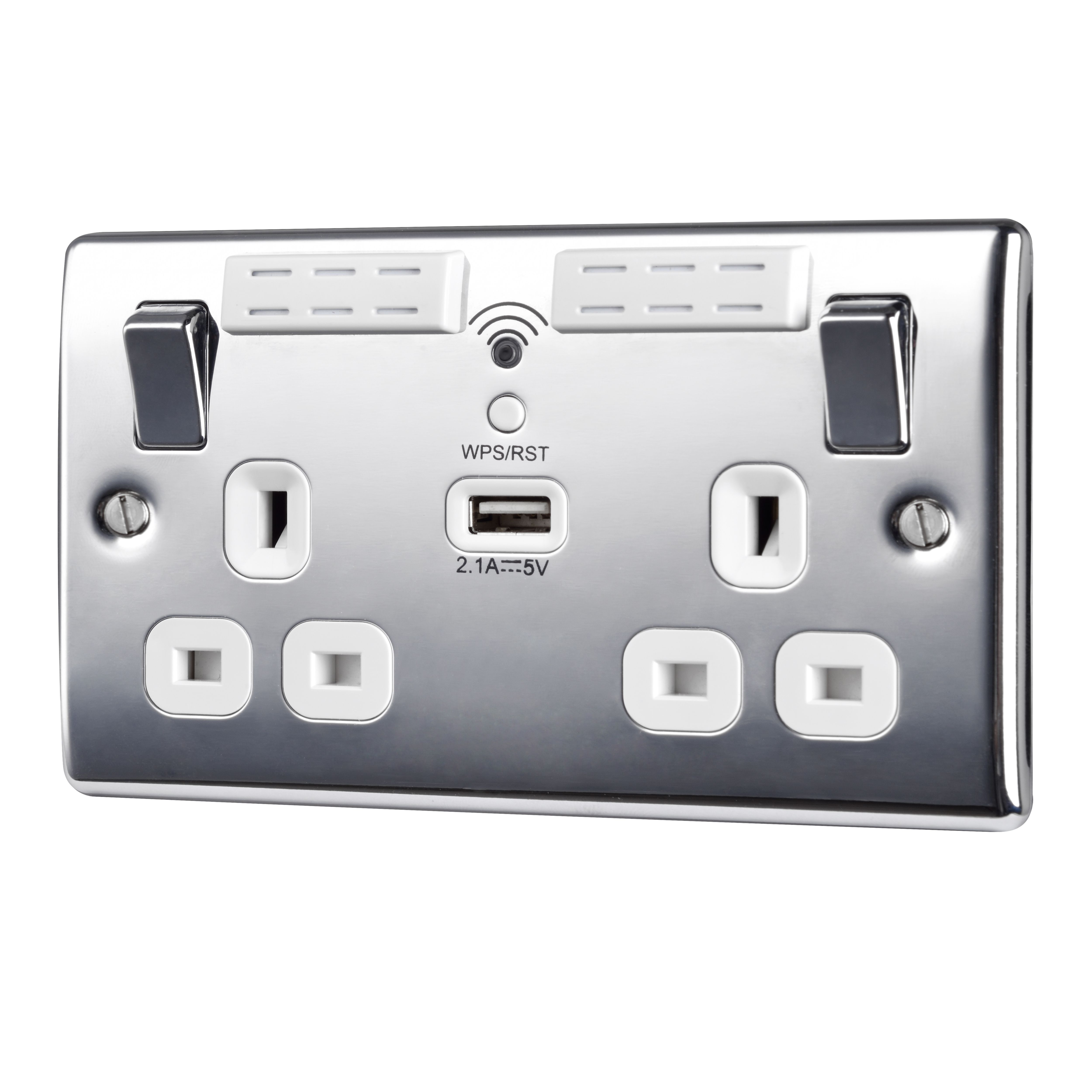 British General 13A Chrome effect Switched Double USB ...