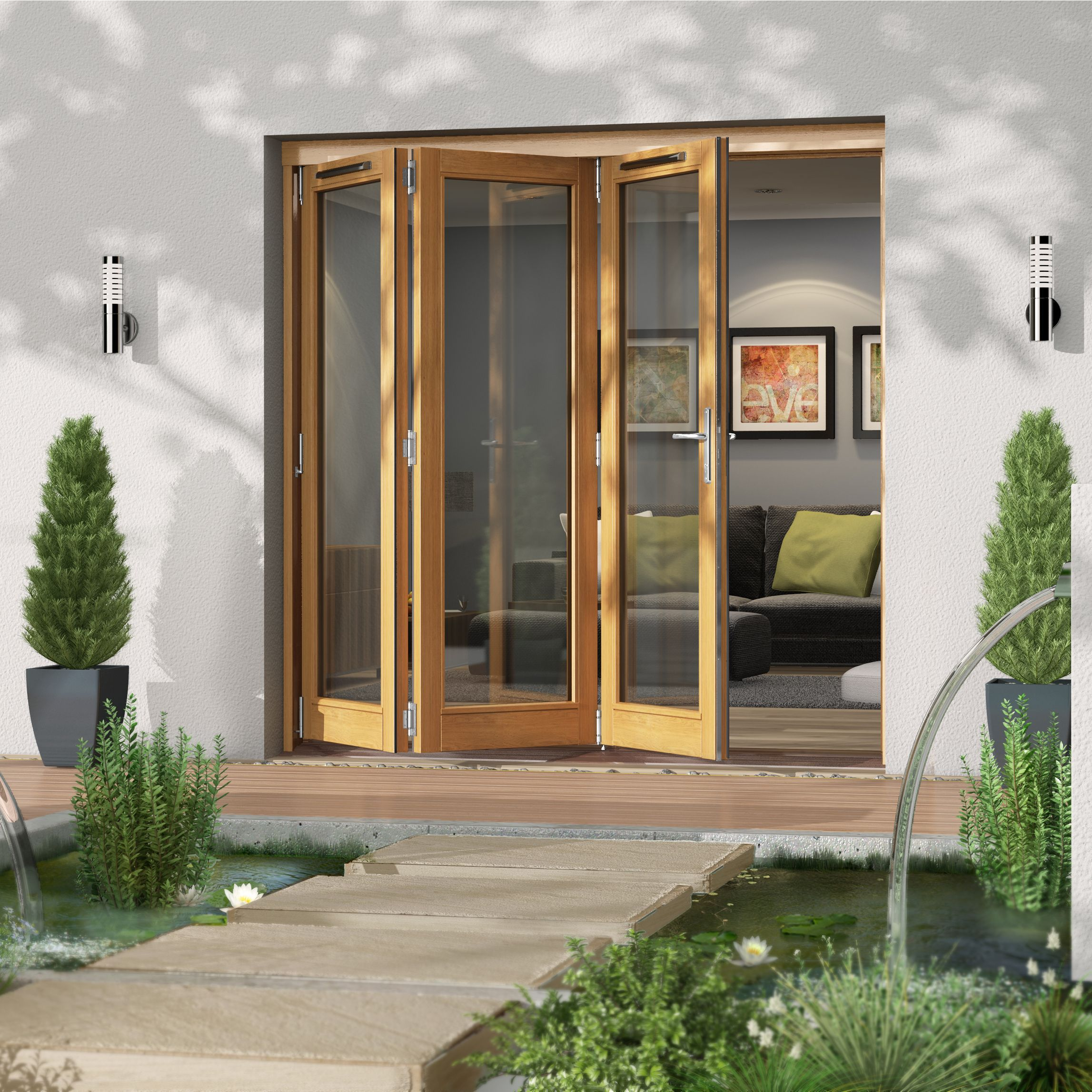 Golden Oak Timber Glazed Folding Patio door, (H)2094mm
