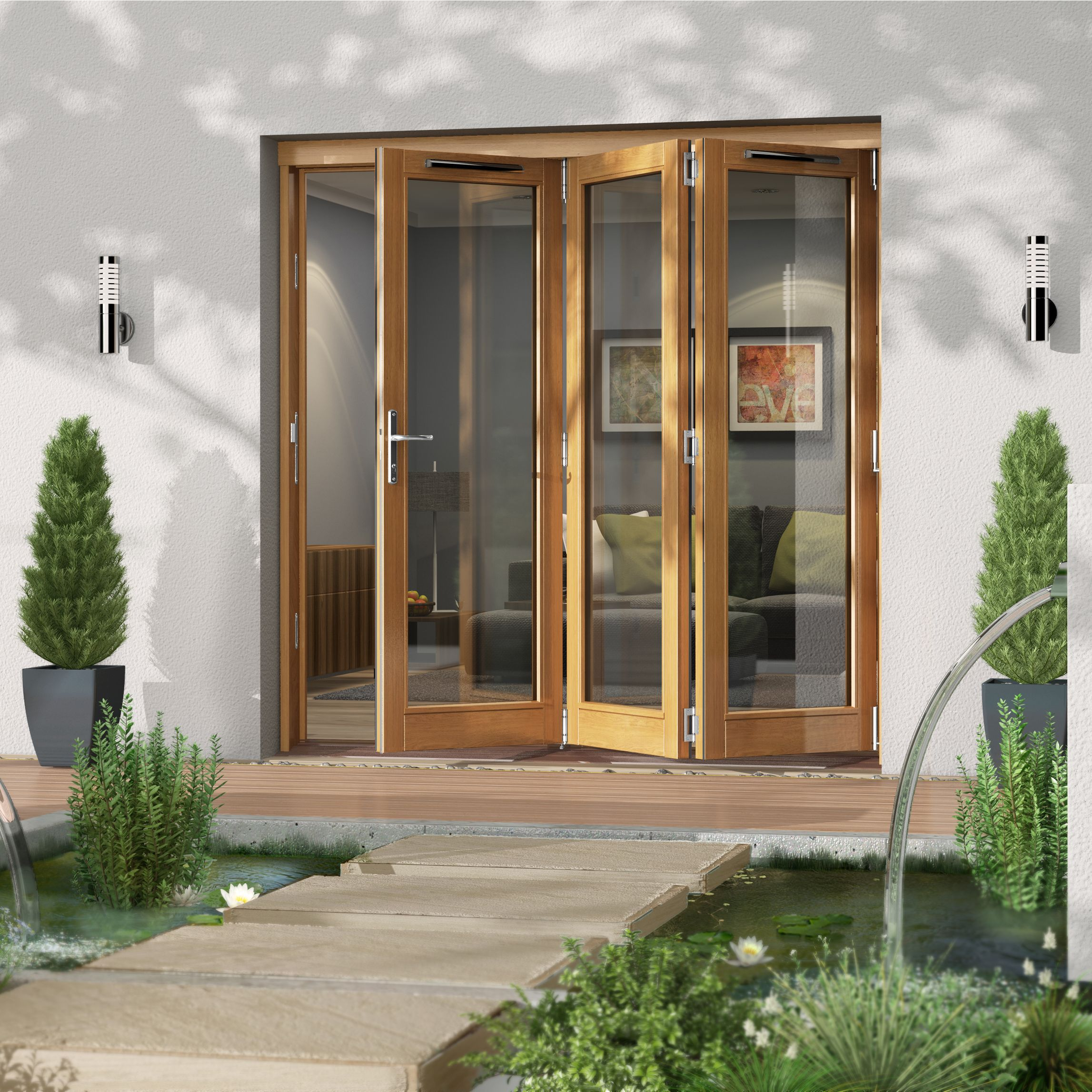 Diy Patio Door Installation: Golden Oak Timber Glazed Folding Patio Door, (H)2094mm (W