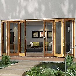 Golden Oak Timber Glazed Patio Door, (H)2094mm (W)4794mm