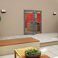 Grey Timber Glazed Folding Patio door, (H)2094mm (W)1794mm