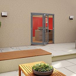Grey Timber Glazed Patio Door, (H)2094mm (W)1794mm
