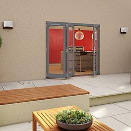 Grey Timber Glazed Folding Patio door, (H)2094mm (W)2094mm