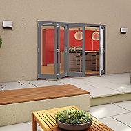 Grey Timber Glazed Folding Patio door, (H)2094mm (W)2994mm