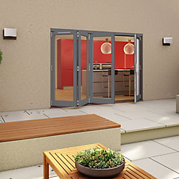 Grey Timber Glazed Folding Patio door, (H)2094mm (W)3594mm