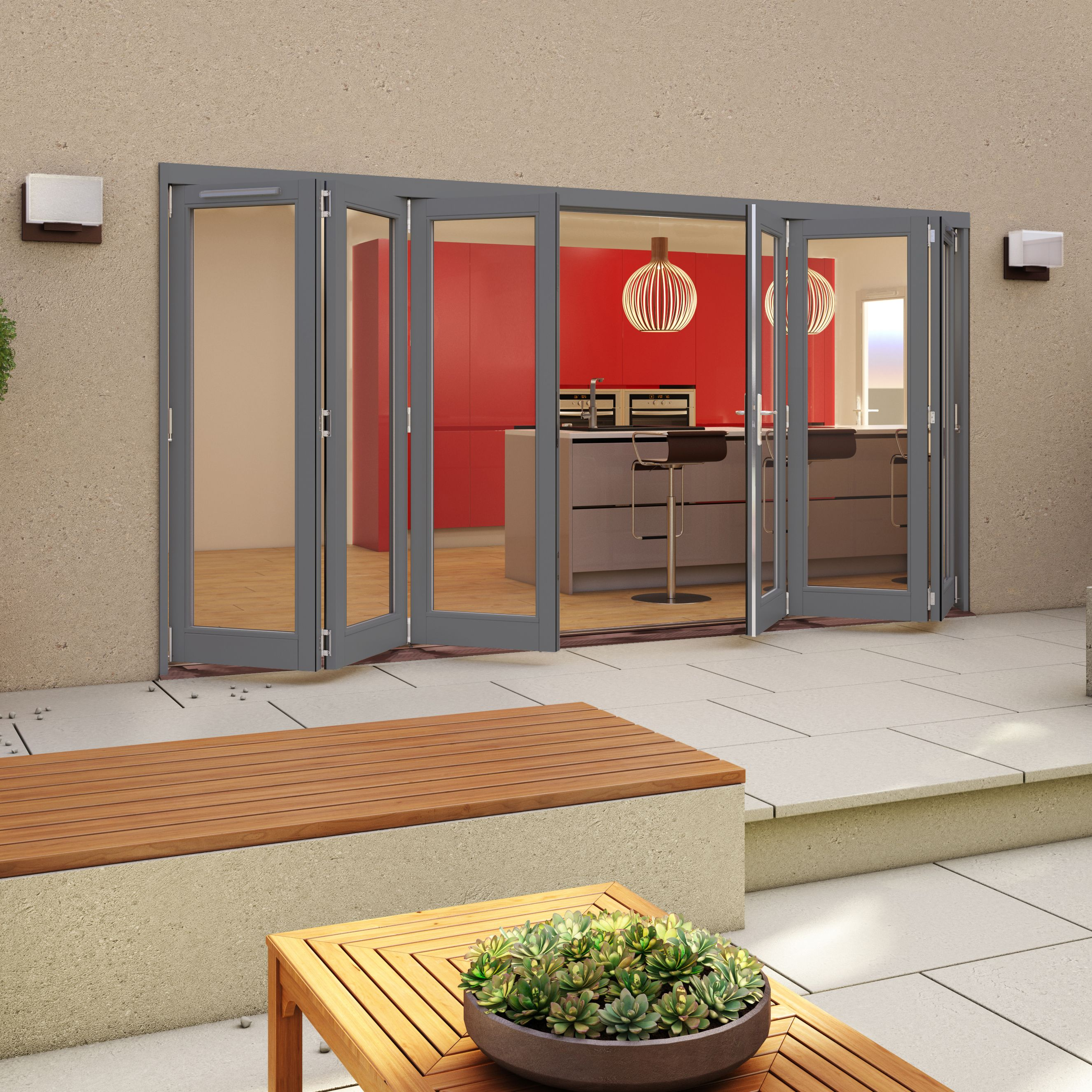 Grey Timber Glazed Patio Patio Door, (H)2094mm (W)4794mm