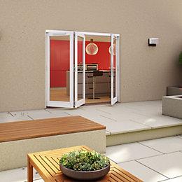 White Timber Glazed Sliding Folding Patio Door, (H)2094mm
