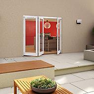 White Timber Glazed Folding Patio door, (H)2094mm (W)2394mm