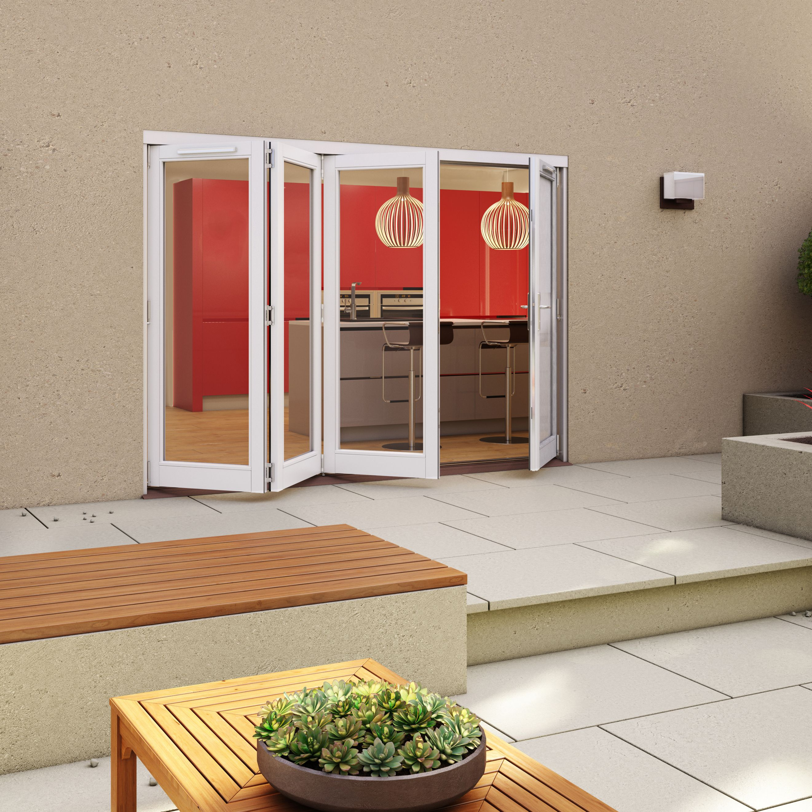 White Timber Glazed Folding Patio door, (H)2094mm (W)2994mm