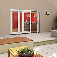 White Timber Glazed Folding Patio door, (H)2094mm (W)2994mm
