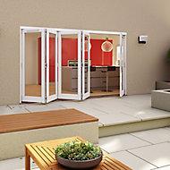 White Timber Glazed Folding Patio door, (H)2094mm (W)3594mm