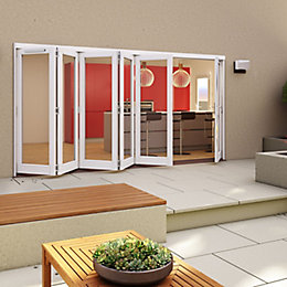 White Timber Glazed Folding Patio door, (H)2094mm (W)4794mm