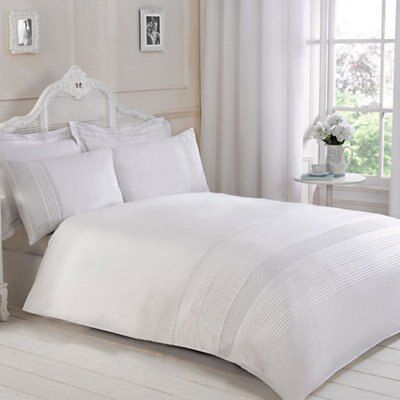 Mae Pintuck & Embroidery Detail White Double Bed