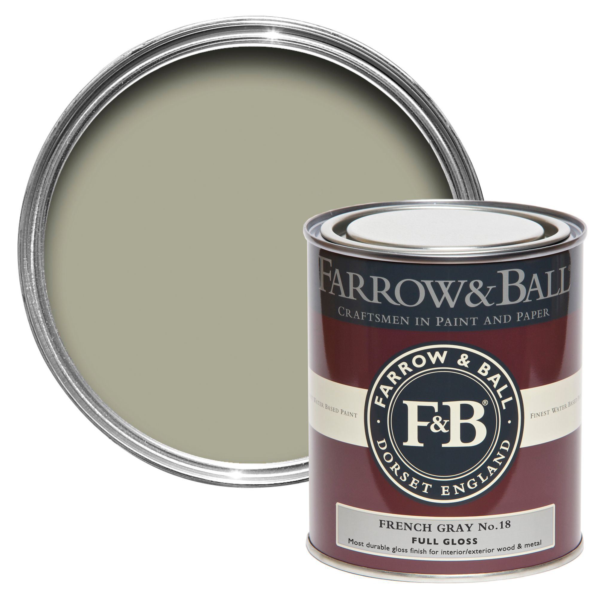 Farrow & Ball Interior & Exterior French Gray No.18 Gloss Paint ...