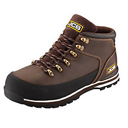 JCB Brown 3CX Hiker Boots, size 8