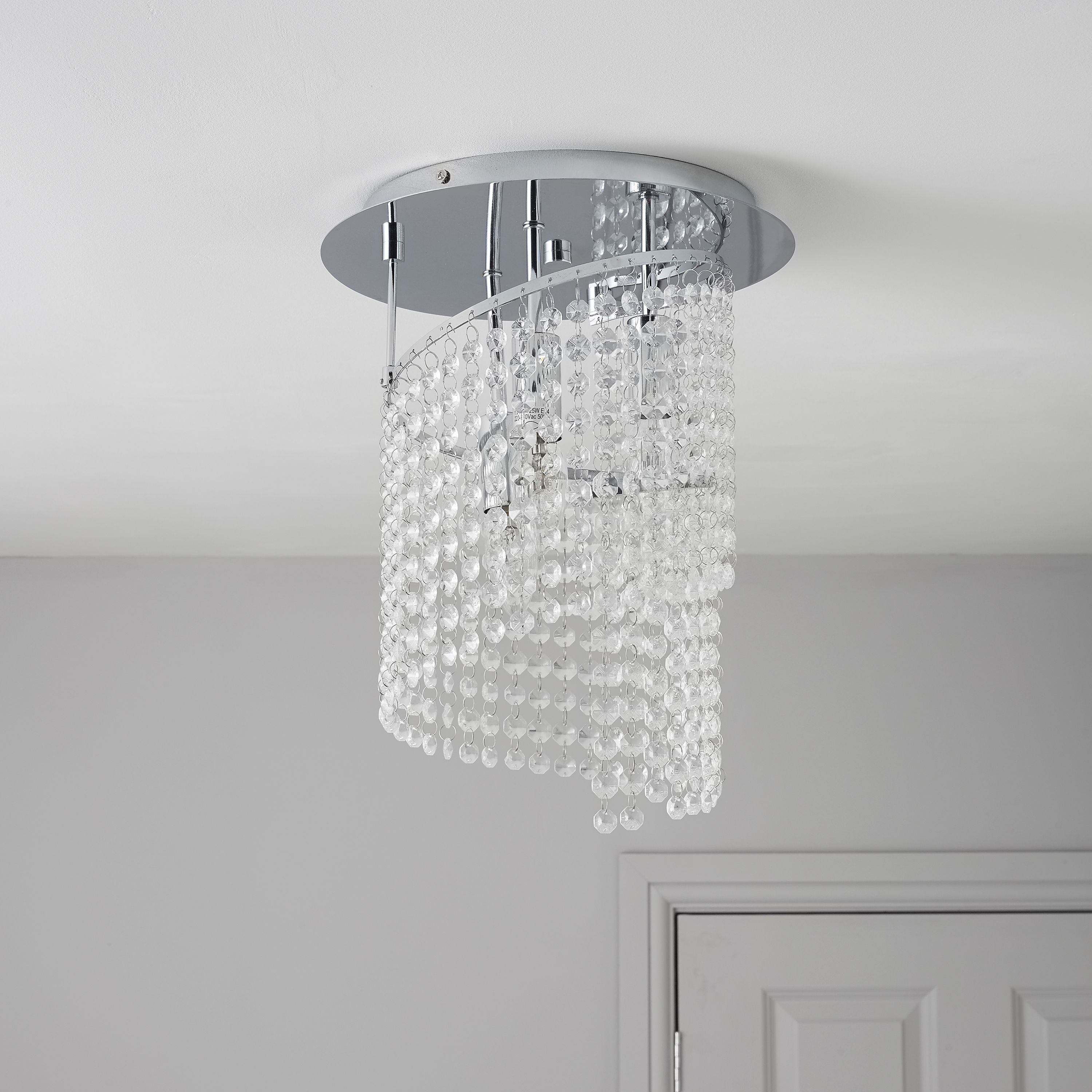 Spinazo Glass Beaded Silver 3 Lamp Pendant Ceiling Light