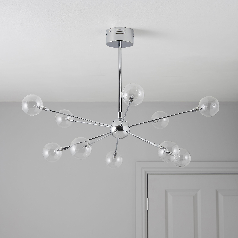 Frater Chrome Effect 10 Lamp Pendant Ceiling Light