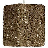 Abaca Brown Twine Square Pendant Light Shade (D)177mm